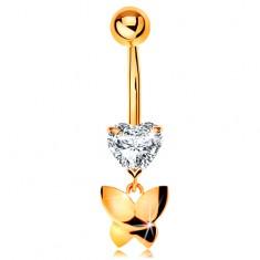 Złoty 585 piercing do pępka - bezbarwne oszlifowane serduszko, wiszący lśniący motyl