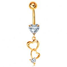 Złoty 585 piercing do brzucha - kontury serc i bezbarwne cyrkoniowe serduszka