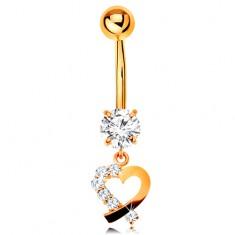 Złoty 14K piercing do pępka - kontur serduszka z bezbarwną cyrkoniową połówką