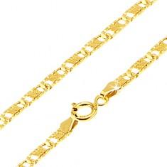 Złoty łańcuszek 585 - płaskie podłużne ogniwa z nacięciami, krateczka, 450 mm