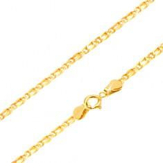Łańcuszek w żółtym złocie - wygładzone połączone ogniwa, 490 mm