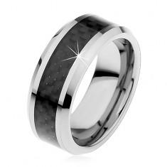 Tungsten obrączka srebrnego koloru, środkowy pas z czarnych włókien, 8 mm