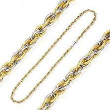 Łańcuszek ze stali chirurgicznej przepleciony złotym i srebrnym kolorem