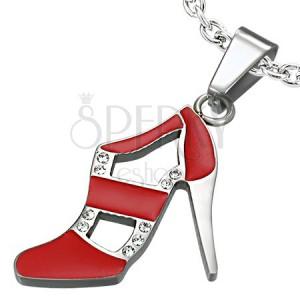 Zawieszka ze stali - taneczny pantofelek, czerwony