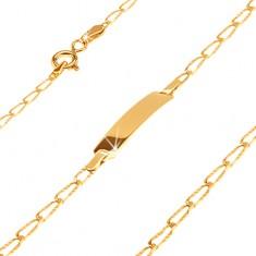Bransoletka z żółtego złota 14K z płytką - podłużne ogniwa z nacięciami, 165 mm