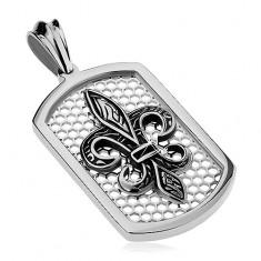 Stalowa zawieszka srebrnego koloru, prostokątna płytka z siatką i Fleur de Lis