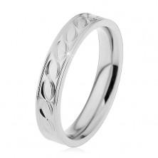 Stalowa obrączka w srebrnym odcieniu, wygrawerowany wzór, 4 mm