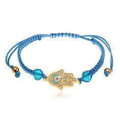 Regulowana bransoletka na rękę z niebieskich sznurków, symbol Hamsa, bezbarwne cyrkonie