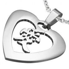 """Stalowa zawieszka srebrnego koloru - serce z chińskim znakiem """"miłość"""""""