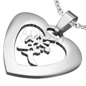 Zawieszka stalowe serce z chińskim znakiem