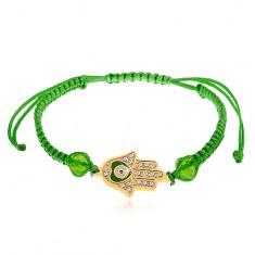 Bransoletka zielonego koloru, ręka Fatimy, bezbarwne cyrkonie, koraliki