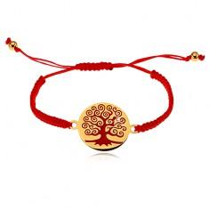 Bransoletka z czerwonych sznurków, okrągła zawieszka z czerwonym drzewem