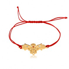 Bransoletka ze sznurków w czerwonym odcieniu, połączone ręce Fatimy, bezbarwne cyrkonie