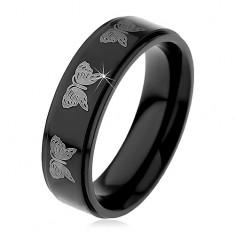 Czarny stalowy pierścionek, nadruk motyli srebrnego koloru, 6 mm