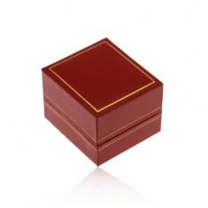 Upominkowe pudełeczko na pierścionek, ciemnoczerwona skórzana powierzchnia, oprawa złotego koloru