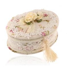 Owalna beżowa szkatułka z bukietem kwiatów i kokardą, nadruk kwiatów