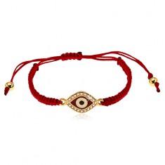 Bordowa bransoletka ze sznurków, symbol oka ozdobiony bezbarwnymi cyrkoniami
