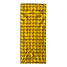 Lśniący woreczek z celofanu na upominek, złoty odcień, błyszczące kwadraciki