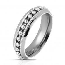 Lśniący stalowy pierścionek srebrnego koloru, łańcuszek z kuleczek, karbowane linie, 6 mm