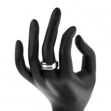 Tungsten obrączka z matowym środkowym pasem i bezbarwną cyrkonią, 8 mm