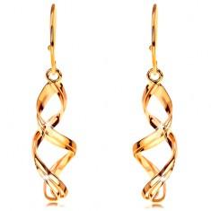 Złote wiszące kolczyki 585 - podwójna lśniąca spirala na biglu