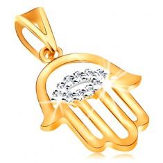 Zawieszka z żółtego 585 złota - symbol ochrony Chamsa, bezbarwne cyrkoniowe oko