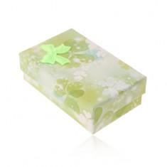 Pudełeczko na zestaw lub łańcuszek, motyw zielonych i białych trójlistków