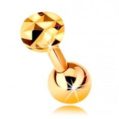 Złoty 585 piercing do ucha - lśniący prosty pręt z kuleczką i oszlifowanym kółkiem, 5 mm