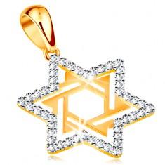 Złota zawieszka 585 - gwiazda Dawida ozdobiona bezbarwnymi cyrkoniami i wycięciami