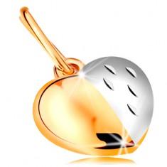 Dwukolorowa zawieszka z 14K złota - lśniąco-matowe serce ozdobione nacięciami