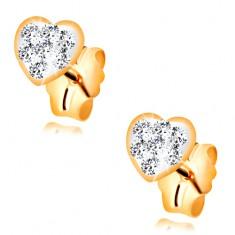 Kolczyki wkręty z żółtego 585 złota - serduszko wyłożone kryształkami Swarovskiego