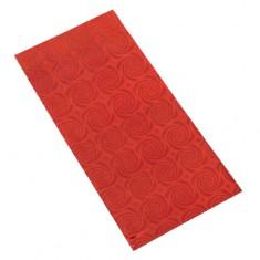 Lśniący upominkowy woreczek z celofanu czerwonego koloru z motywem spirali