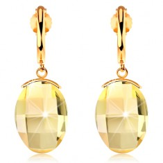 Kolczyki z żółtego 585 złota - wąski lśniący łuk, oszlifowany żółty kryształ Swarovski