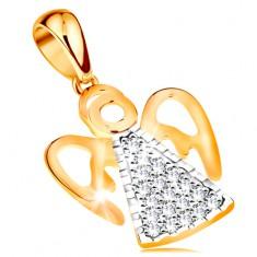 Dwukolorowa zawieszka z 14K złota - anioł z powycinanymi skrzydłami, bezbarwne cyrkonie