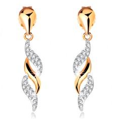 Złote kolczyki 585 - błyszczące fale wiszące na lśniącej kropelce, kryształki Swarovski
