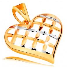 Zawieszka ze złota 585 - lśniące serce w kratkę w dwukolorowej wersji