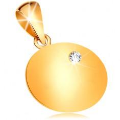 Złota zawieszka 585 - lśniąca płaska okrągła płytka z osadzonym bezbarwnym diamentem