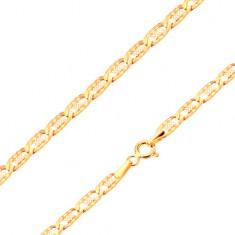 Złota bransoletka 585 - płaskie podłużne ponacinane ogniwa, kratka, 190 mm
