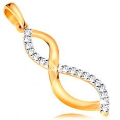 Dwukolorowa złota 585 zawieszka - gładka i cyrkoniowa falista linia