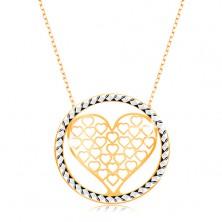 Złoty naszyjnik 375 - łańcuszek z owalnych ogniw, powycinane serce w kole