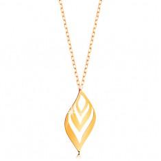 Naszyjnik z żółtego 375 złota - lekko falisty liść z wycięciami, cienki łańcuszek