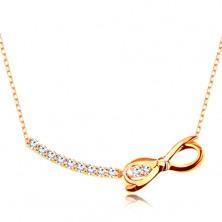 Złoty naszyjnik 375 - łańcuszek z owalnych ogniw, cyrkoniowy łuk i lśniąca kokardka