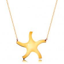 Naszyjnik z żółtego 375 złota - lśniące gładkie słoneczko, cienki błyszczący łańcuszek