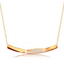 Złoty 375 naszyjnik - łańcuszek z owalnych ogniw, lśniąca zagięta linia z cyrkoniami