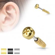 Stalowy piercing tragus do ucha - imitacja śrubki, różne kolory