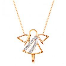 Naszyjnik z żółtego 375 złota - kontur aniołka, cyrkoniowe linie, cienki błyszczący łańcuszek