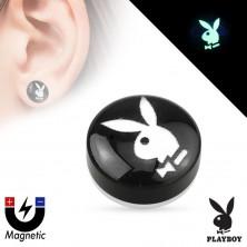 Fałszywy akrylowy magnetyczny plug - czarne koło z obrazkiem zajączka Playboy