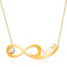 Złoty naszyjnik 375 - subtelny łańcuszek, symbol nieskończoności, bezbarwna cyrkonia i napis MOM