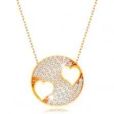 Naszyjnik z żółtego 375 złota - błyszczące koło z serduszkami, łańcuszek z owalnych ogniw