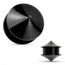 Plug do ucha, akryl czarnego koloru, dwa lśniące i gładkie stożki